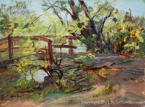 A Bridge oil painting by Shirley Bicke'l Evans