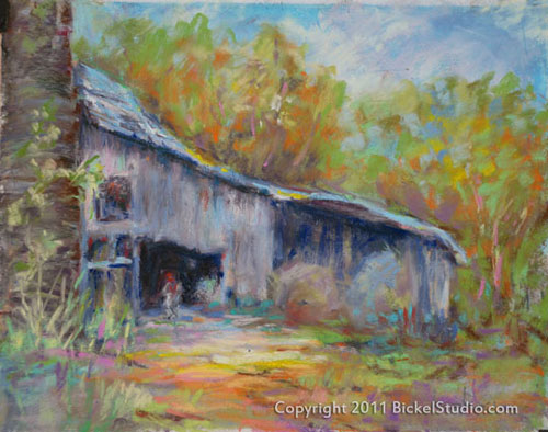 Grey Barn, pastel painting
