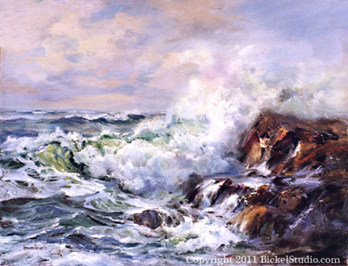 Rocks and Surf - Seascape oil painting